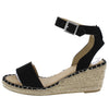 Pacifica Black Open Toe Cut Out Ankle Strap Espadrille Wedge - Wholesale Fashion Shoes