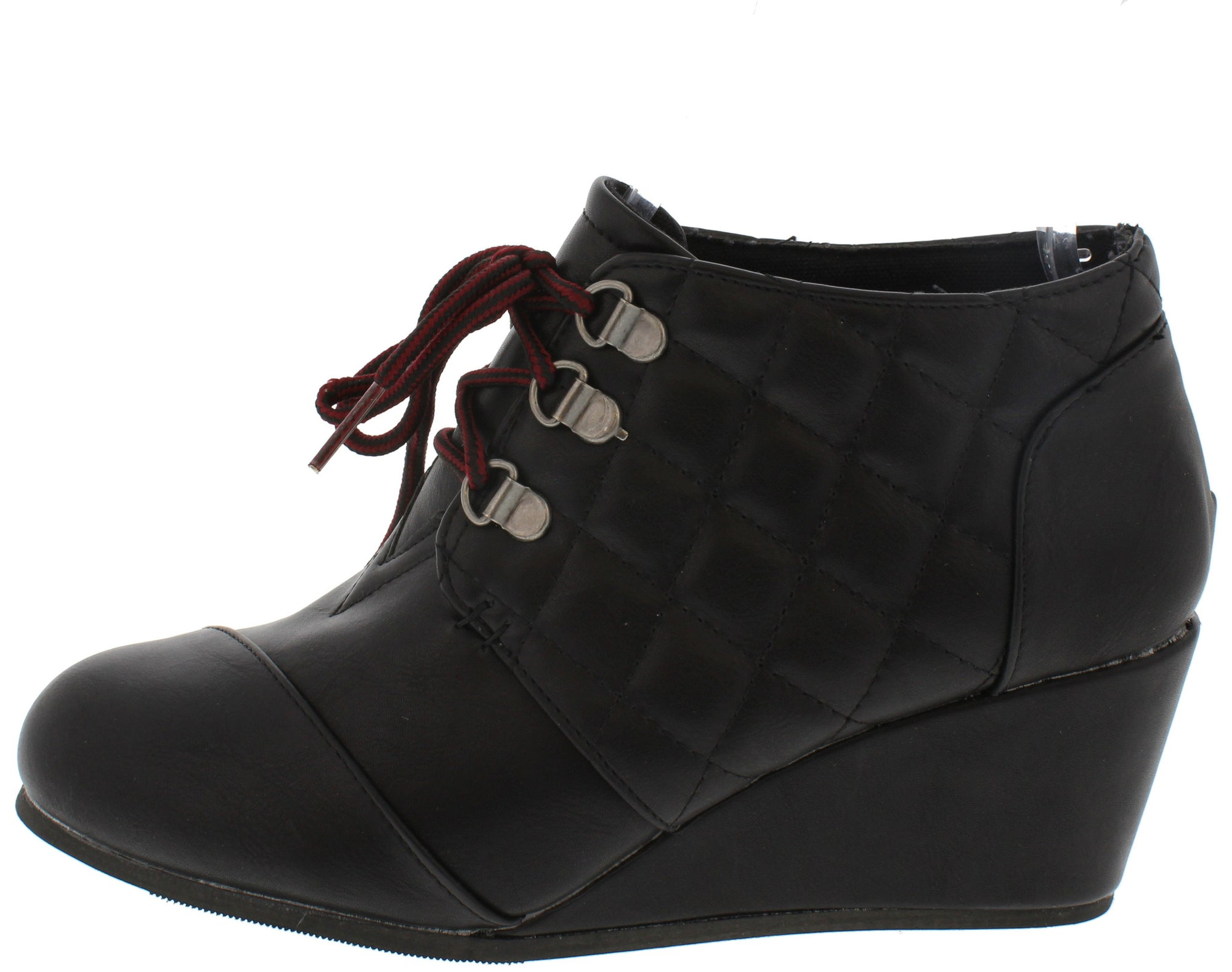 aebc79d6b3b9 Paddy02 Black Multi Panel Lace Up Wedge Boot - Wholesale Fashion Shoes