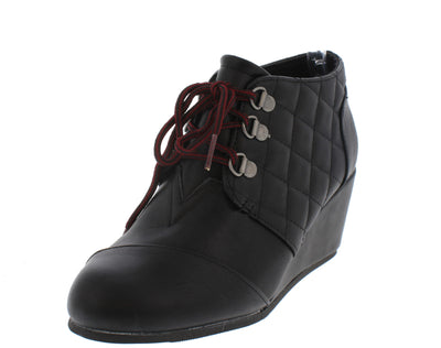 Paddy02 Black Multi Panel Lace Up Wedge Boot - Wholesale Fashion Shoes