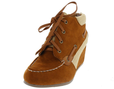 Paddy03 Chestnut Lace Up Boat Wedge Boot - Wholesale Fashion Shoes