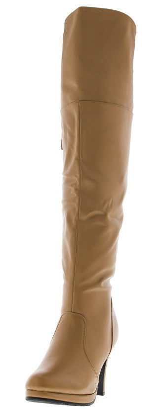 Page5 Khaki Knee High Heeled Boot - Wholesale Fashion Shoes