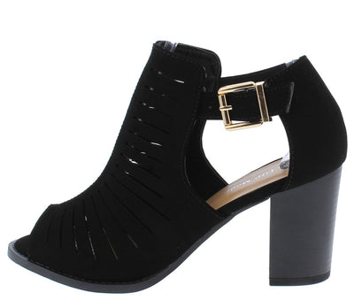 Palm20 Black Peep Toe Laser Cut Side Buckle Stacked Heel - Wholesale Fashion Shoes