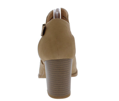 Palm20 Tan Peep Toe Laser Cut Side Buckle Stacked Heel - Wholesale Fashion Shoes