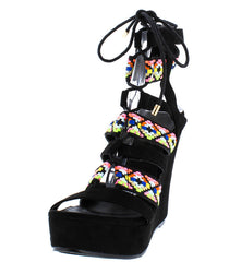 SERENA01 BLACK NEON EMBROIDERED STRAPPY LACE UP PLATFORM WEDGE - Wholesale Fashion Shoes