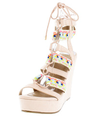 SERENA01 NUDE NEON EMBROIDERED STRAPPY LACE UP PLATFORM WEDGE - Wholesale Fashion Shoes
