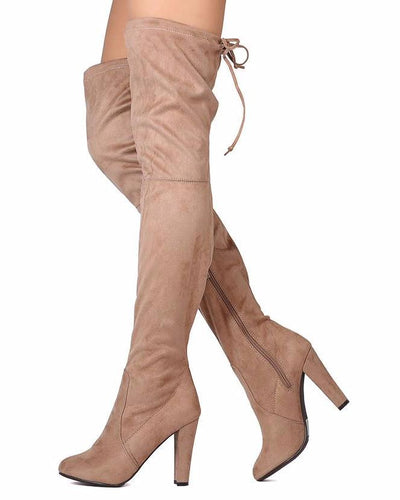 Pamela09 Natural Thigh High Almond Toe Drawstring Boot - Wholesale Fashion Shoes