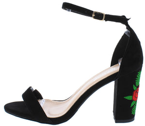 cf09e6a245 Pancy20 Black Embroidered Flower Ankle Strap Heel - Wholesale Fashion Shoes
