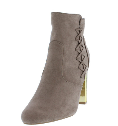 Panel08 Taupe Almond Toe Crisscross Gold Chunky Heel Ankle Boot - Wholesale Fashion Shoes