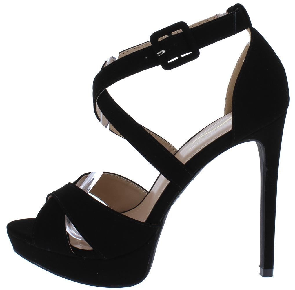 2d5667f89e0 Panela7 Black Cross Strap Peep Toe Platform Stiletto Heels Only  10.88 - Wholesale  Fashion Shoes