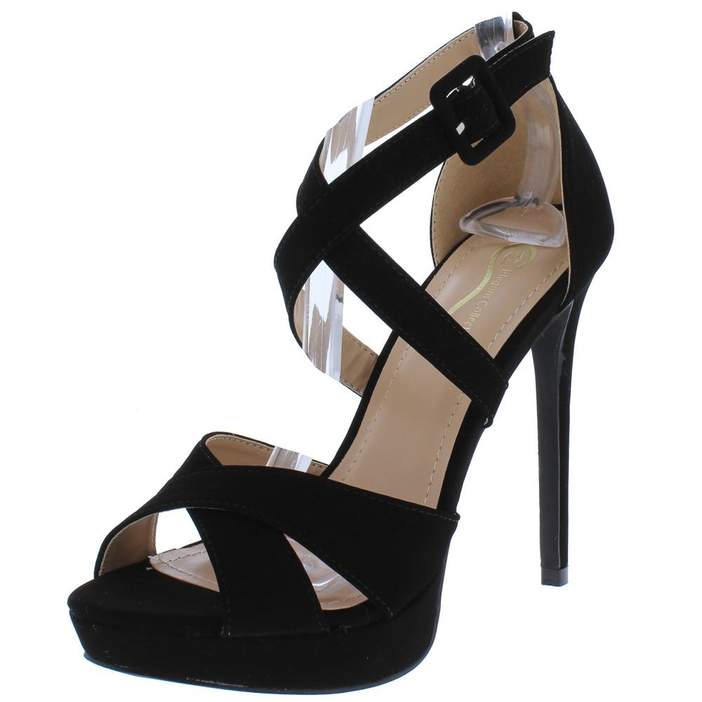 217dead5db7 Panela7 Black Cross Strap Peep Toe Platform Stiletto Heel - Wholesale  Fashion Shoes