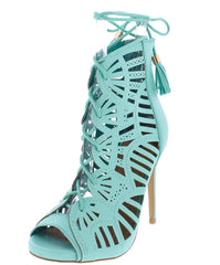 PARIS11 LIGHT GREEN OPEN TOE SCALLOPED LACE UP CUT OUT HEEL - Wholesale Fashion Shoes