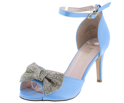 Paris15 Blue Satin Crystal Bow Peep Toe Short Heel - Wholesale Fashion Shoes