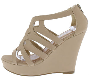 8d7fd8c9ae33 Paso1 Beige Women s Wedge - Wholesale Fashion Shoes