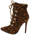 Jessica159 Leopard Lace Up Stiletto Ankle Boot - Wholesale Fashion Shoes
