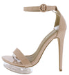 Passion Nude Open Toe Ankle Strap Lucite Platform Heel - Wholesale Fashion Shoes