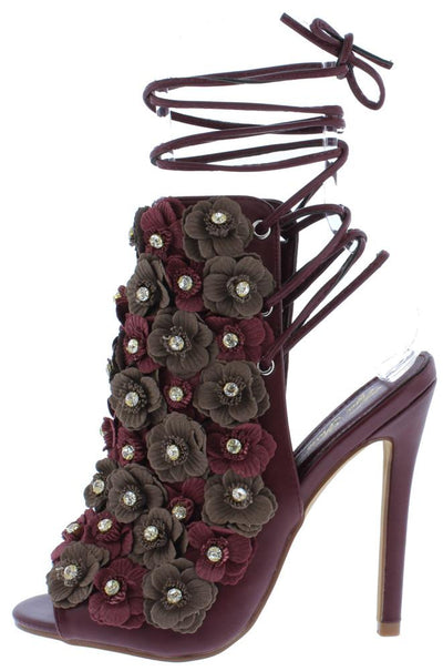 Nevaeh106 Wine Rhinestone Flower Ankle Wrap Peep Toe Heel - Wholesale Fashion Shoes