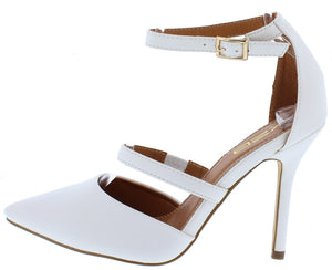 75c99eed669 Patty2 White Pu Pointed Toe Ankle Strap Stiletto Heel - Wholesale Fashion  Shoes