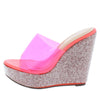 Beverly141 Clear Pink Women's Wedge - Wholesale Fashion Shoes