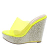 Beverly141 Clear Yellow Women's Wedge - Wholesale Fashion Shoes