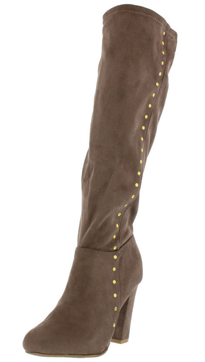 Paula01 Taupe Row Stud Knee High Boot - Wholesale Fashion Shoes