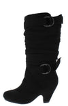 Pauline38 Black Dual Buckle Knee High Kids Boot - Wholesale Fashion Shoes