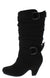 Pauline38 Black Dual Buckle Knee High Kids Boot
