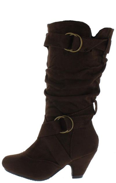 Pauline38 Brown Dual Buckle Knee High Kids Boot - Wholesale Fashion Shoes