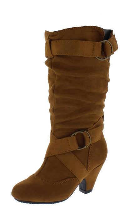 Pauline38 Tan Dual Buckle Knee High Kids Boot - Wholesale Fashion Shoes