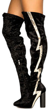 Paw43 Black Thigh High Lightening Bolt High Heel Boot - Wholesale Fashion Shoes