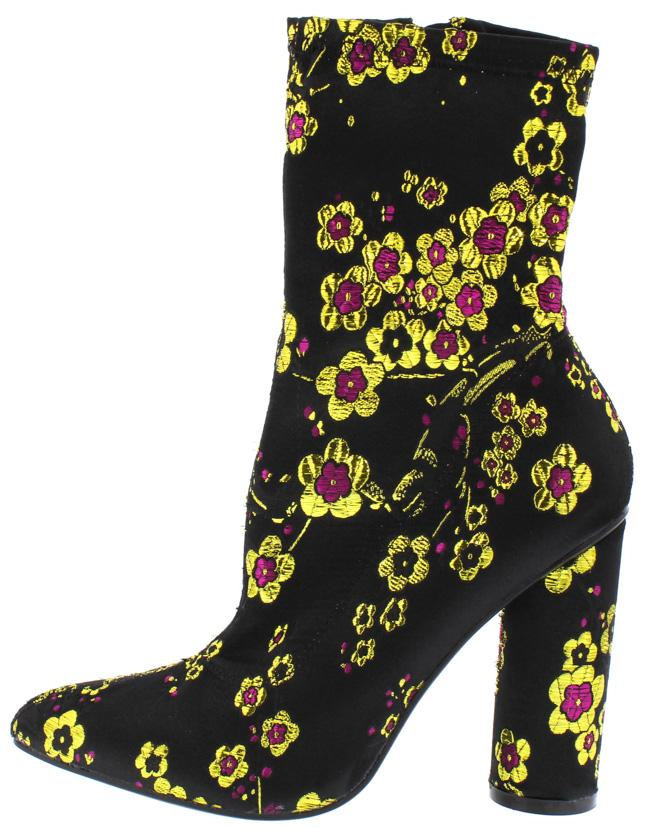 b4de8144865 Paw51 Black Floral Embroidered Low Calf Boot - Wholesale Fashion Shoes