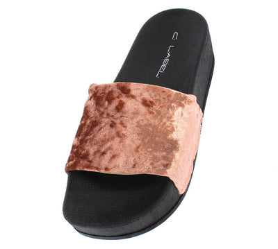 Paxton1 Peach Velvet Slide on Platform Sandal - Wholesale Fashion Shoes