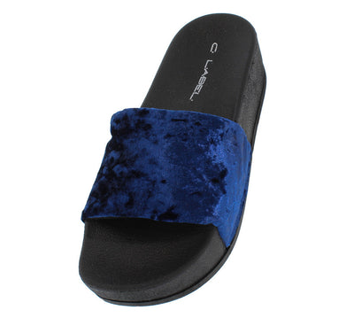Paxton1 Royal Blue Velvet Slide on Platform Sandal - Wholesale Fashion Shoes