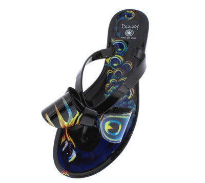 Peacock Black Thong Bow Multi Color Sandal - Wholesale Fashion Shoes