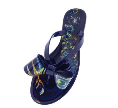 Peacock Navy Thong Bow Multi Color Sandal - Wholesale Fashion Shoes