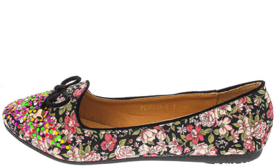 Peariva2 Black Studded Floral Bow Loafer Flat - Wholesale Fashion Shoes