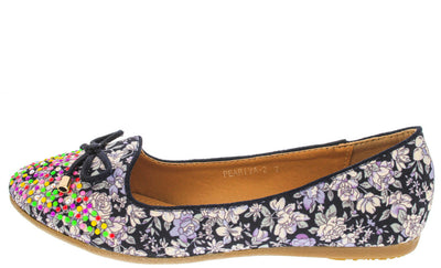 Peariva2 Navy Studded Floral Bow Loafer Flat - Wholesale Fashion Shoes
