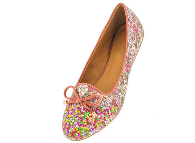Peariva2 Pink Studded Floral Bow Loafer Flat - Wholesale Fashion Shoes