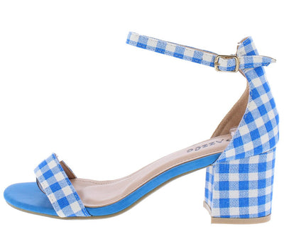 Pearl1 Blue Gingham Open Toe Ankle Strap Short Chunky Heel - Wholesale Fashion Shoes