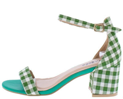Pearl1 Green Gingham Open Toe Ankle Strap Short Chunky Heel - Wholesale Fashion Shoes
