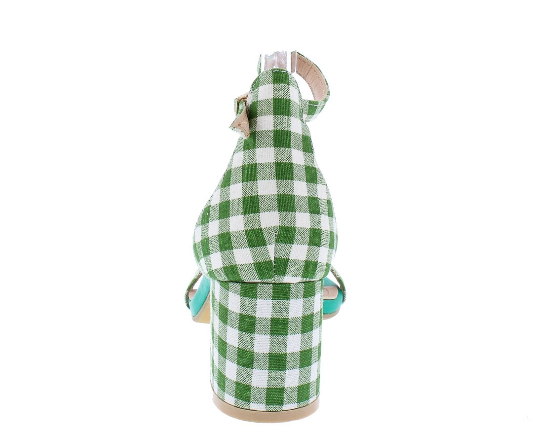 4cc43f5ac5d Pearl1 Green Gingham Open Toe Ankle Strap Short Chunky Heel - Wholesale  Fashion Shoes