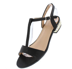 ELLIE177 BLACK PU OPEN TOE SLING BACK PEARL HEEL SANDAL - Wholesale Fashion Shoes