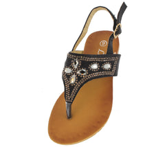 PECKO15631KM BLACK RHINESTONE GEM KIDS SANDAL - Wholesale Fashion Shoes