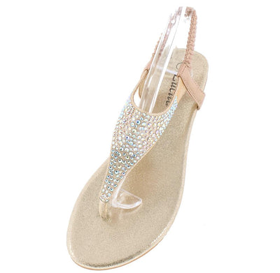Pecko1825 Champagne Rhinestone Y Strap Slingback Thong Sandal - Wholesale Fashion Shoes