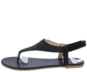 4a305ad8a Pecko1825 Black Rhinestone Y Strap Slingback Thong Sandal - Wholesale  Fashion Shoes