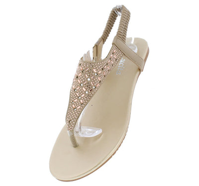 Pecko1832 Beige Diamond Sparkle Slingback Thong Sandal - Wholesale Fashion Shoes