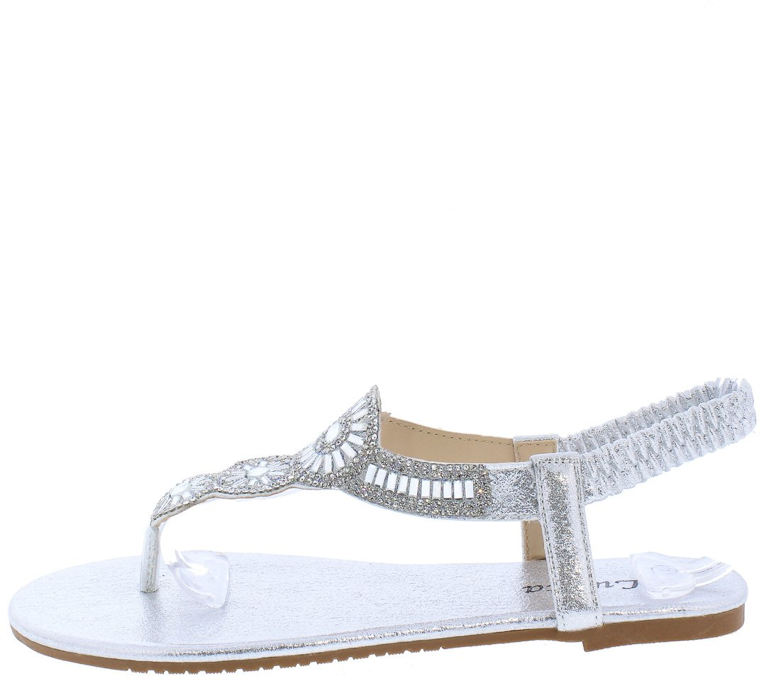 cd41a313d558 Pecko1853 Silver Sparkle Embellished Slingback Thong Sandal - Wholesale  Fashion Shoes