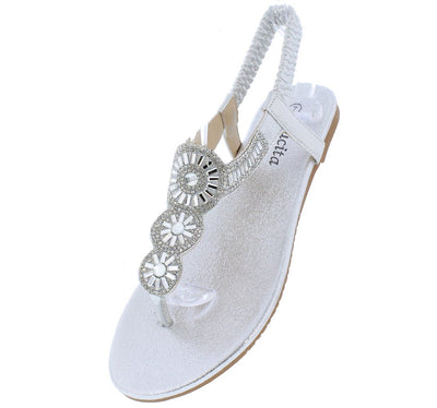 Pecko1853 Silver Sparkle Embellished Slingback Thong Sandal - Wholesale Fashion Shoes