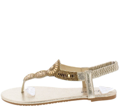 Pecko1853 Gold Sparkle Embellished Slingback Thong Sandal - Wholesale Fashion Shoes