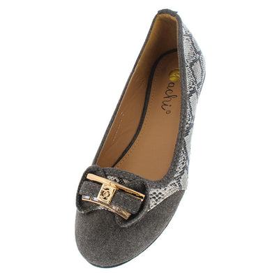 Peginia6 Grey Faux Python Bow Ballet Flat - Wholesale Fashion Shoes