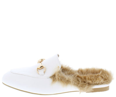 Pendany White Almond Toe Gold Bar Faux Fur Mule Loafer Flat - Wholesale Fashion Shoes
